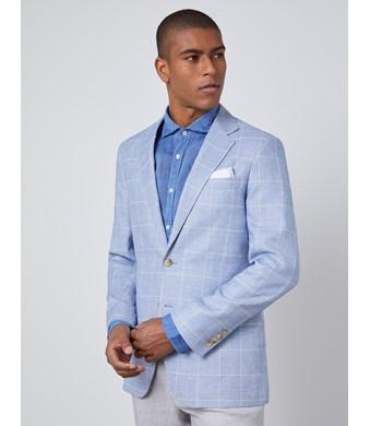 Men's Light Blue Check Linen Blend Slim Fit Jacket