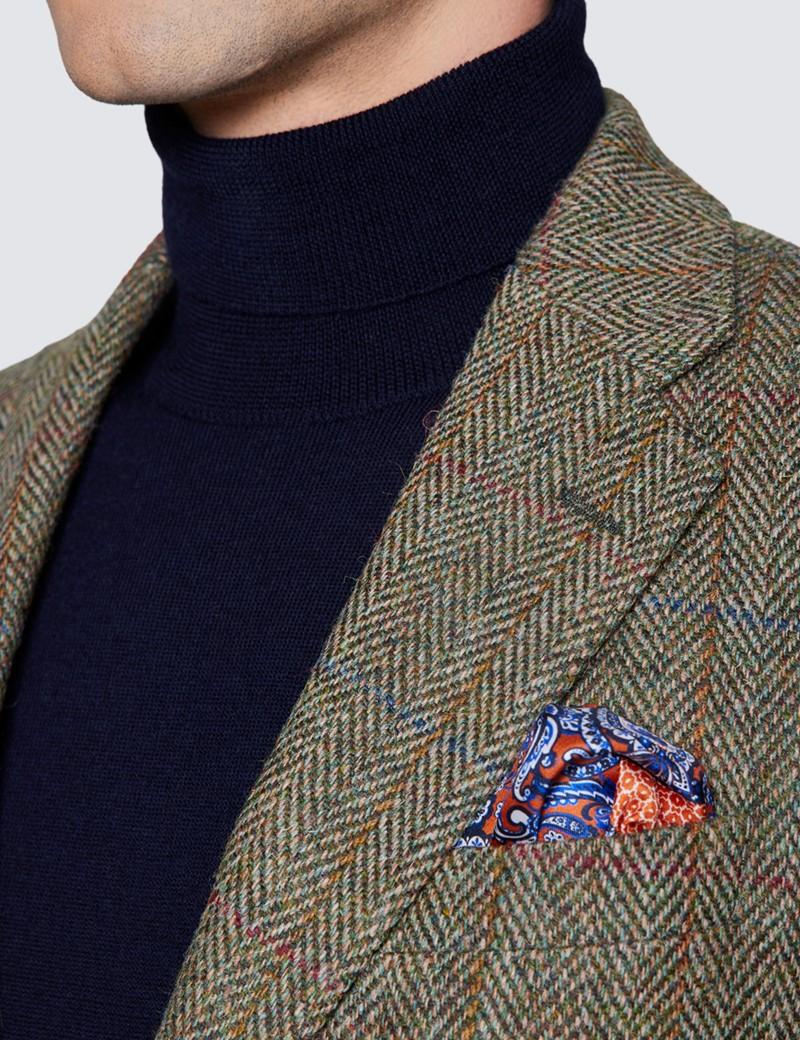 Men's Green & Red Herringbone Check Harris Tweed Blazer - 100% Wool