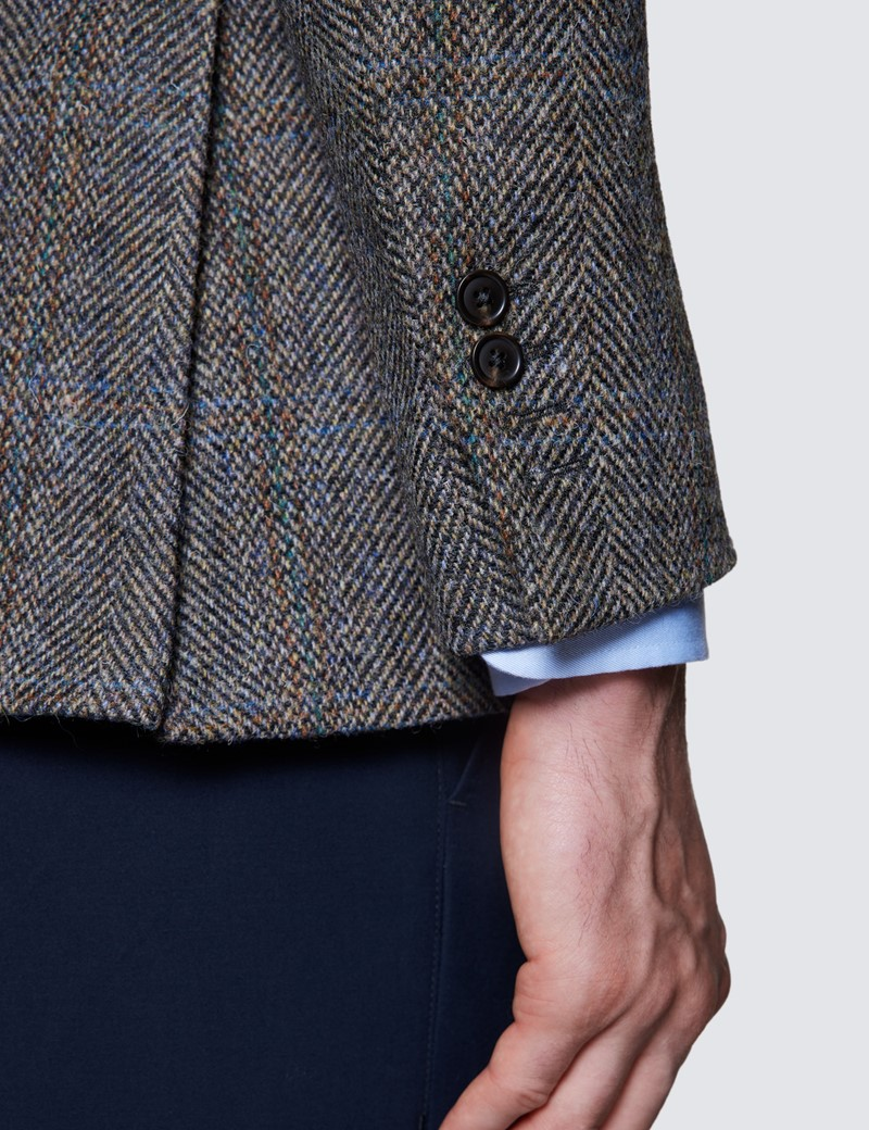 Men's Grey & Orange Herringbone Check Harris Tweed Blazer - 100% Wool