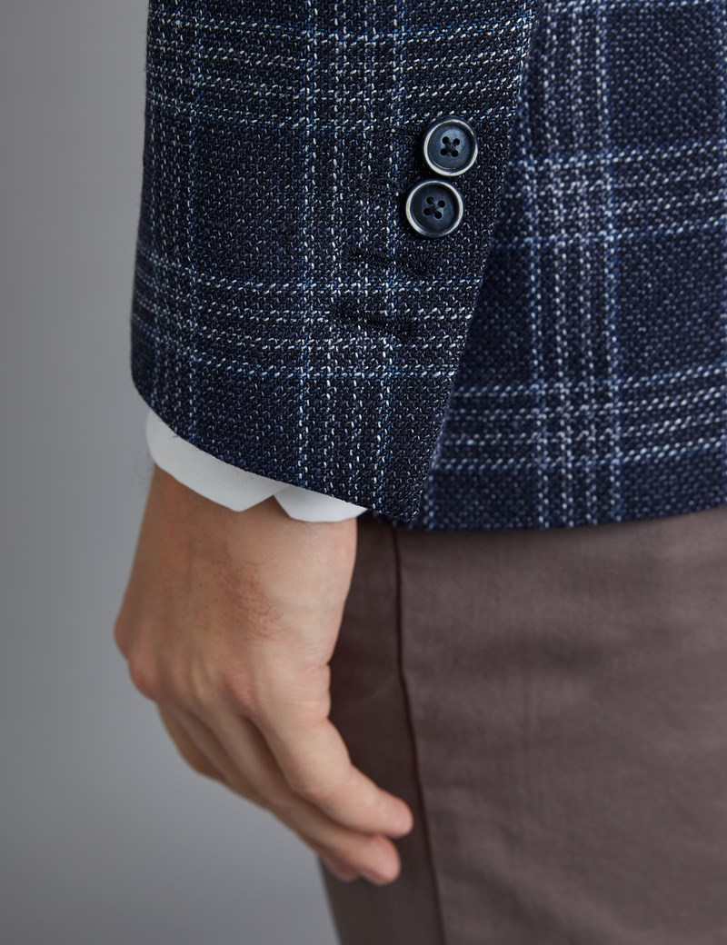 Men's Navy & Blue Triple Plaid Italian Wool & Linen Jacket - 1913 Collection