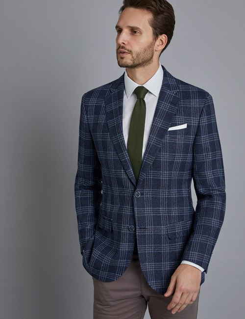 Men's Navy & Blue Triple Check Italian Wool & Linen Jacket - 1913 Collection