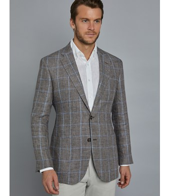 Men's Brown & Light Blue Windowpane Check Italian Linen Jacket - 1913 Collection