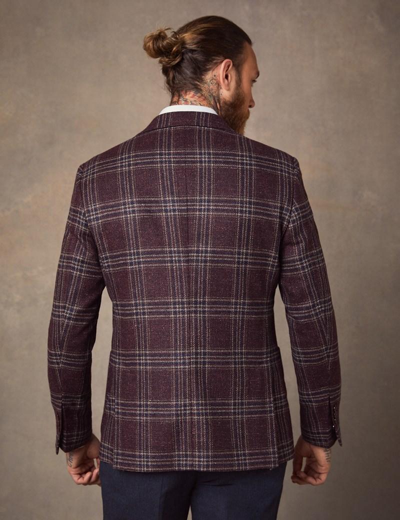 Men's Burgundy Plaid Italian Wool & Silk Blend Jacket - 1913 Collection