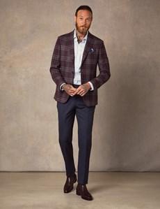 Men's Burgundy Check Italian Wool & Silk Blend Jacket - 1913 Collection