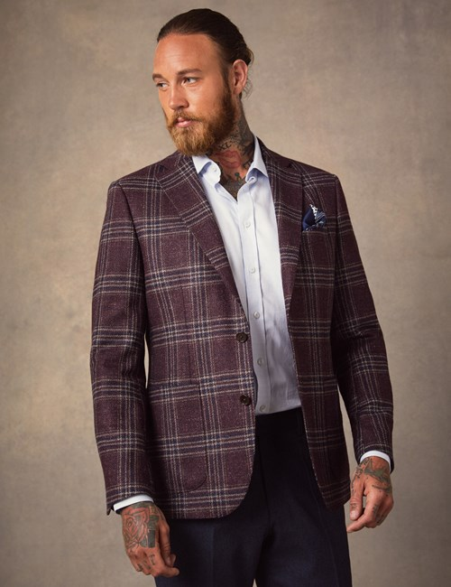 Men's Burgundy Plaid Italian Wool & Silk Blend Jacket - 1913 Collection