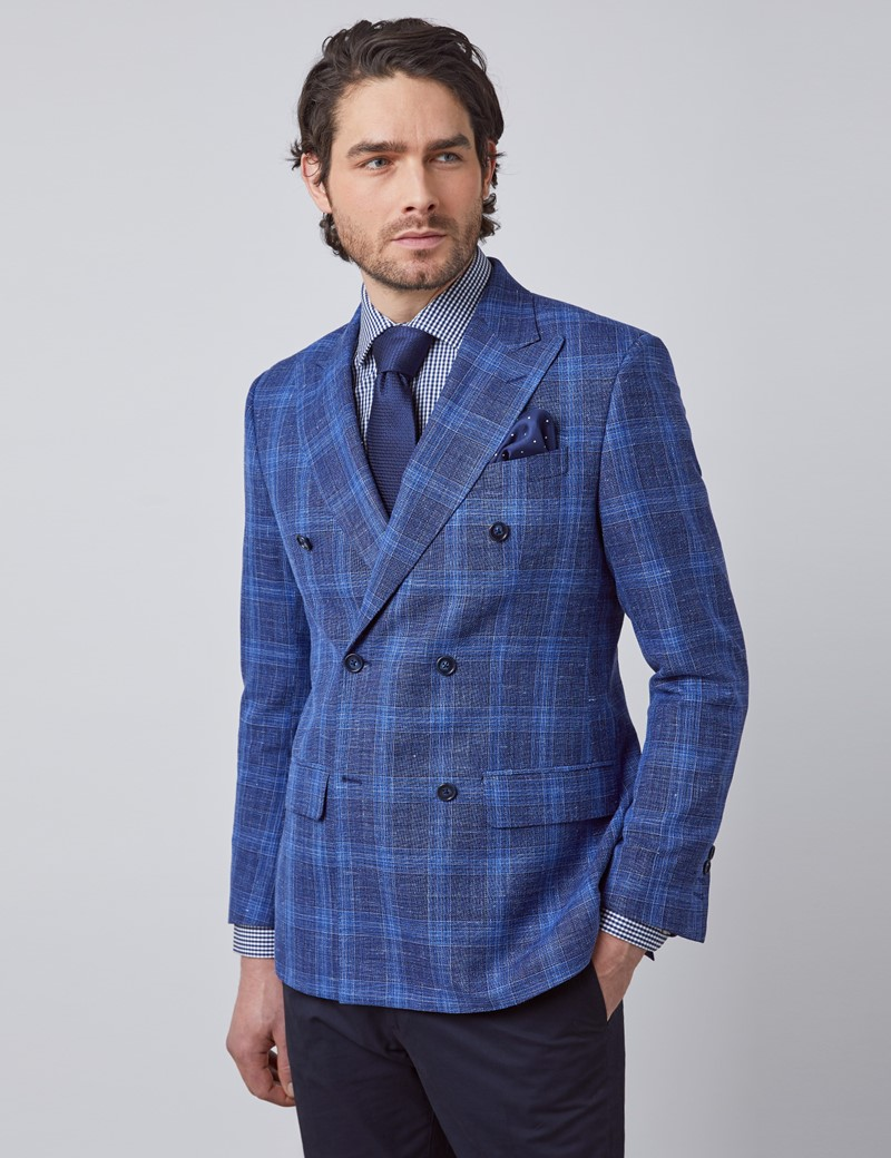 Men's Dark Blue Plaid Double Breasted Silk Wool Blend Italian Blazer - 1913 Collection