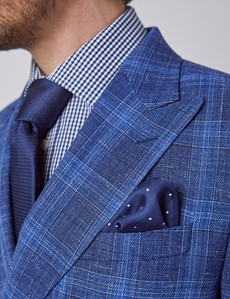 Men's Dark Blue Check Double Breasted Silk Wool Blend Italian Blazer - 1913 Collection