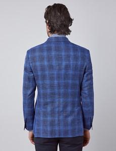 Men's Dark Blue Plaid Double Breasted Silk Wool Blend Italian Blazer - 1913 Collection