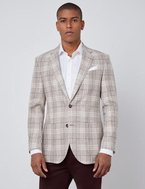 Men's Cream Italian Silk Linen Blend Plaid Jacket - 1913 Collection