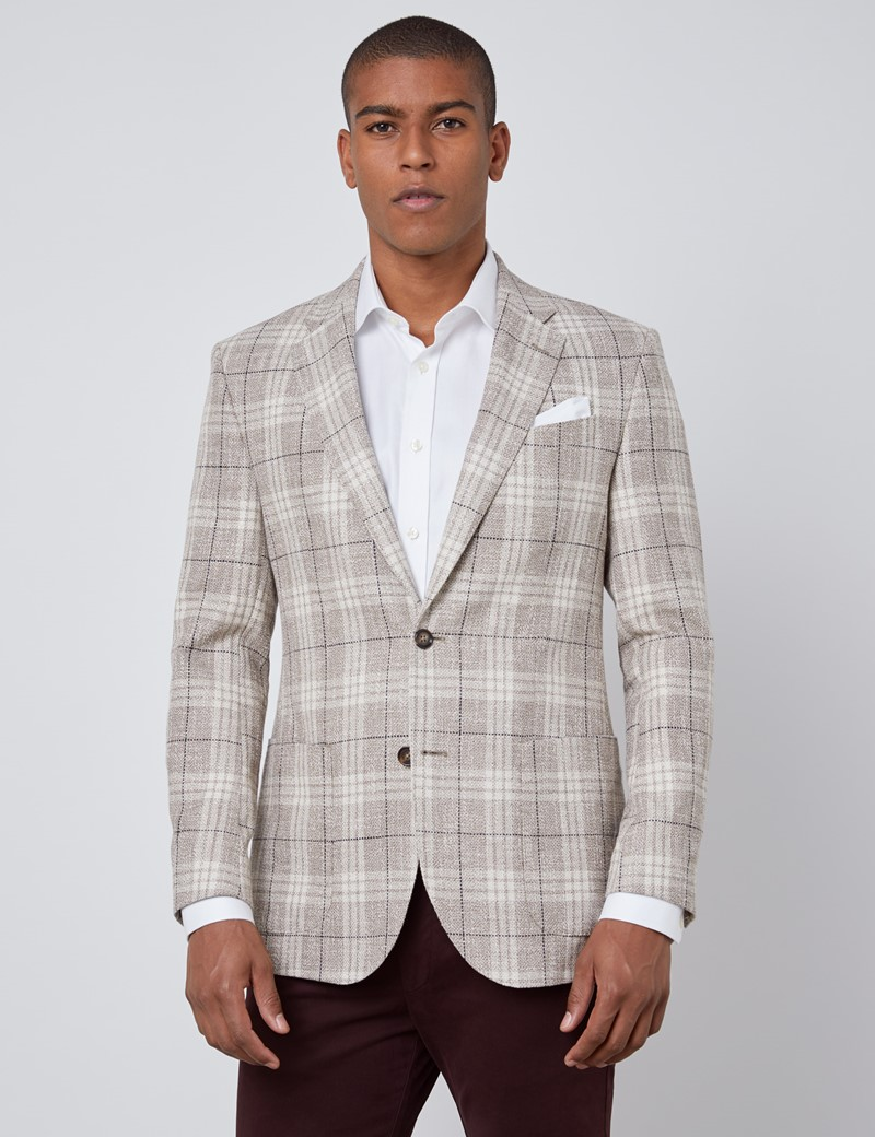 Sakko - 1913 Kollektion - Seide-Leinen Mix - Tailored Fit - Beige Karo
