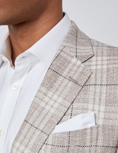 Men's Cream Italian Silk Linen Blend Plaid Jacket - 1913 Collection