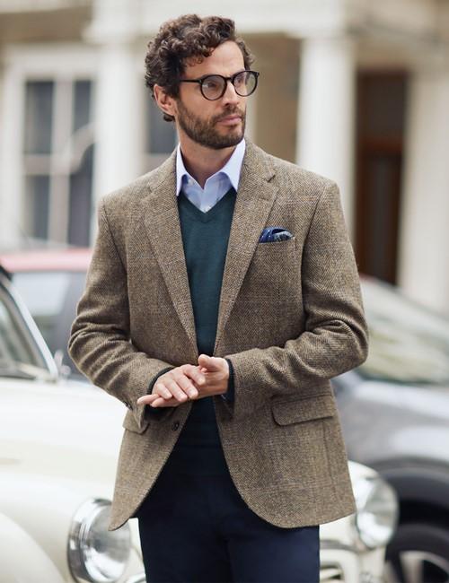 Men's Brown & Blue Herringbone Plaid Harris Tweed Blazer - 100% Wool