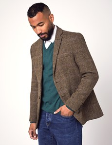 Men's Brown & Blue Herringbone Plaid Harris Tweed Blazer - 100% Wool