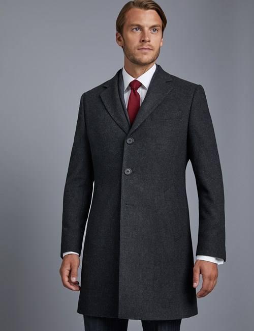 Men's Grey Wool Coat – 100% Wool