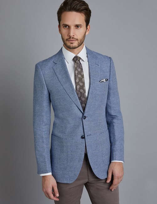 Men's Light Blue Check Linen & Cotton Blend Slim Fit Jacket