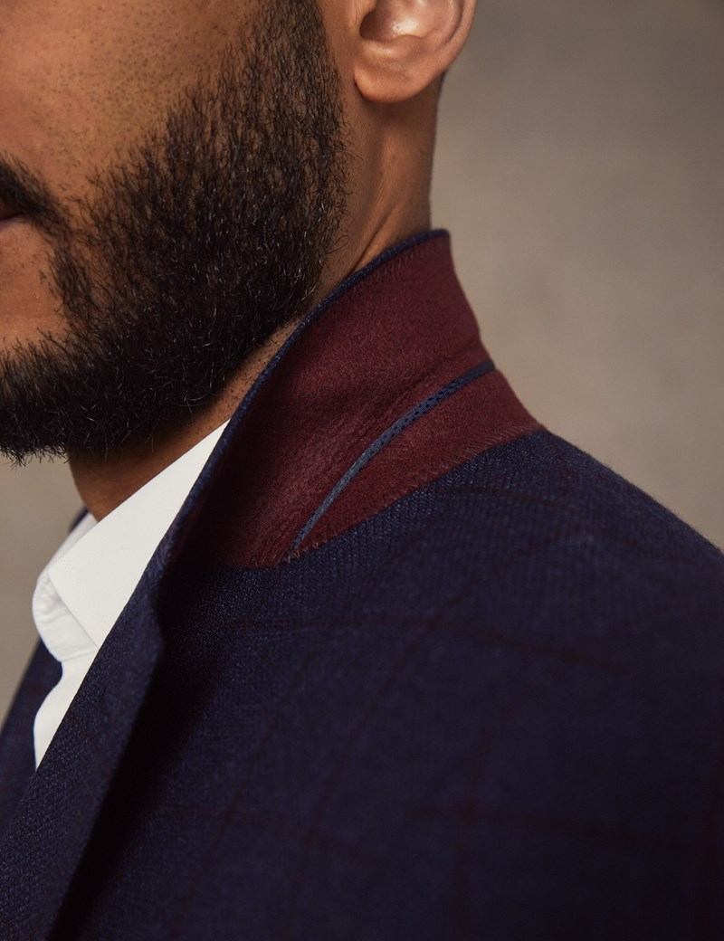 Men's Blue & Red Windowpane Check Wool Jacket