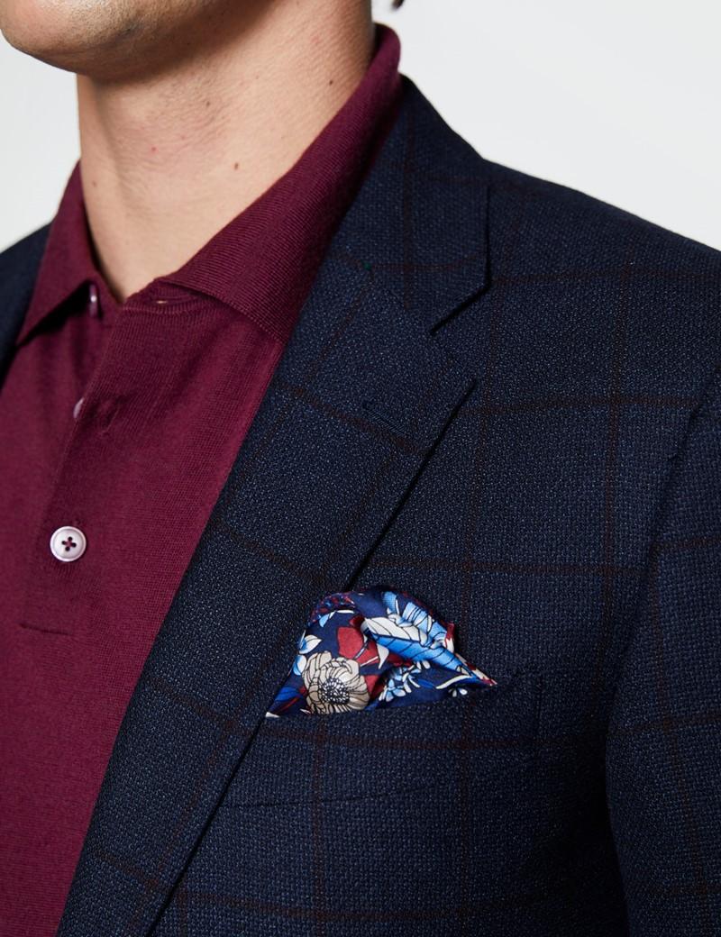 Men's Blue & Red Windowpane Check Wool Jacket