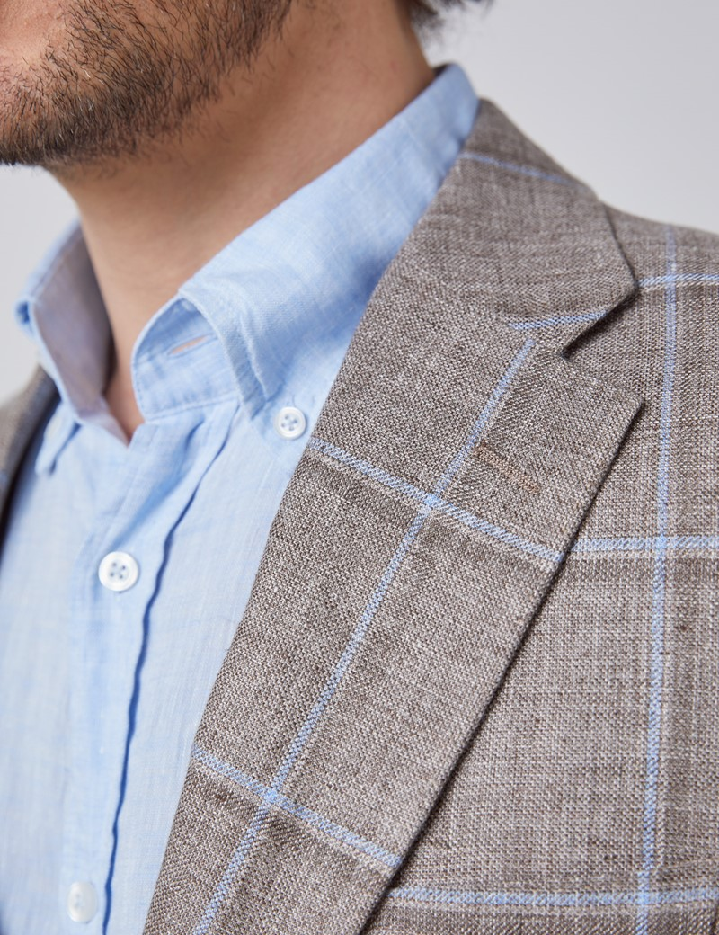 Men's Brown & Light Blue Check Italian Linen Jacket - 1913 Collection