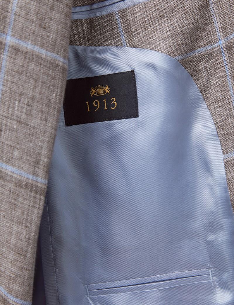 Men's Brown & Light Blue Check Italian Linen Jacket - 1913 Collection