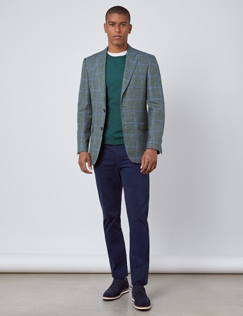 Men's Green & Blue Italian Cotton & Linen Jacket - 1913 Collection