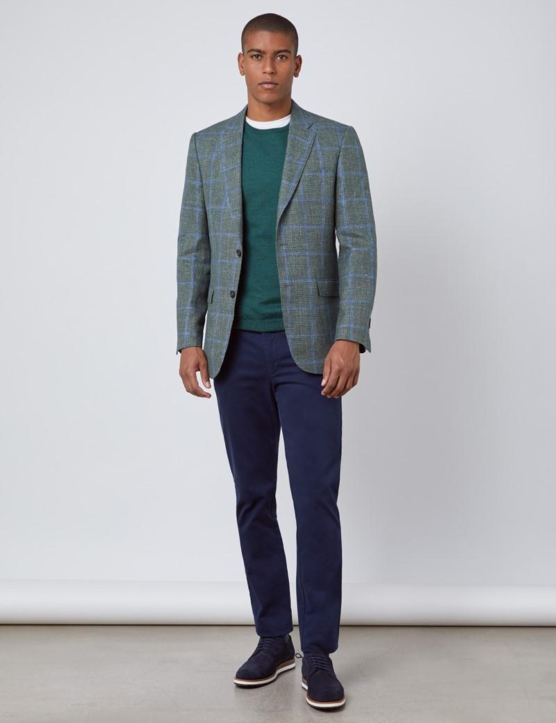 Men's Green & Blue Italian Cotton & Linen Jacket - 1913 Collection