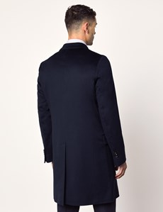 Men's Navy Italian Wool Coat - 1913 Collection