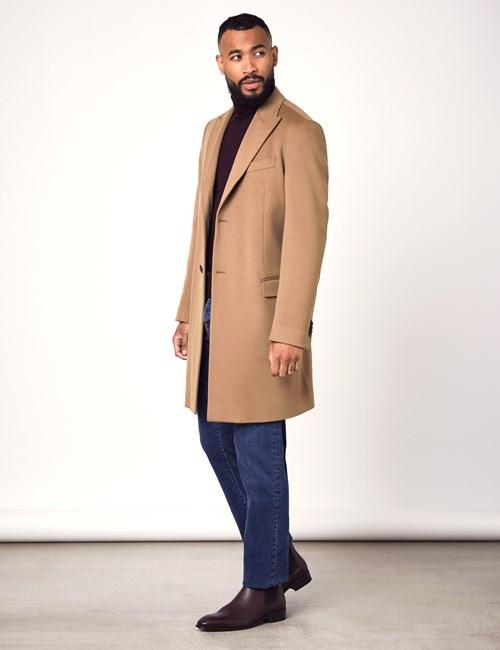 Men's Camel Italian Wool Coat - 1913 Collection