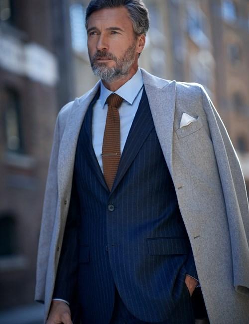 Men's Italian Stone Loro Piana Wool Coat