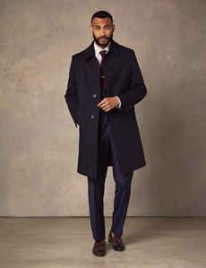 Men's Italian Navy Twill Wool Belt Coat – 1913 Collection