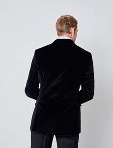 Men's Black Italian Double Breasted Velvet Evening Jacket - 1913 Collection