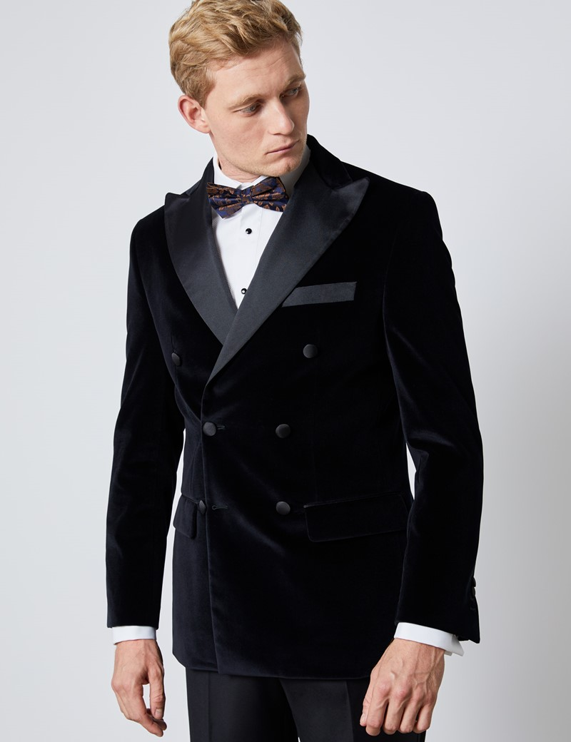 1913 Collection Hawes /& Curtis Mens Black Double Breasted Rain Mac