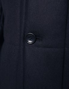 Men's Navy Quilted Italian Wool Cashmere Coat - 1913 Collection