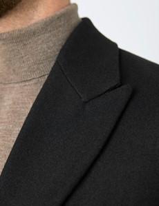 Men's Black Italian Wool Blend Overcoat – 1913 Collection