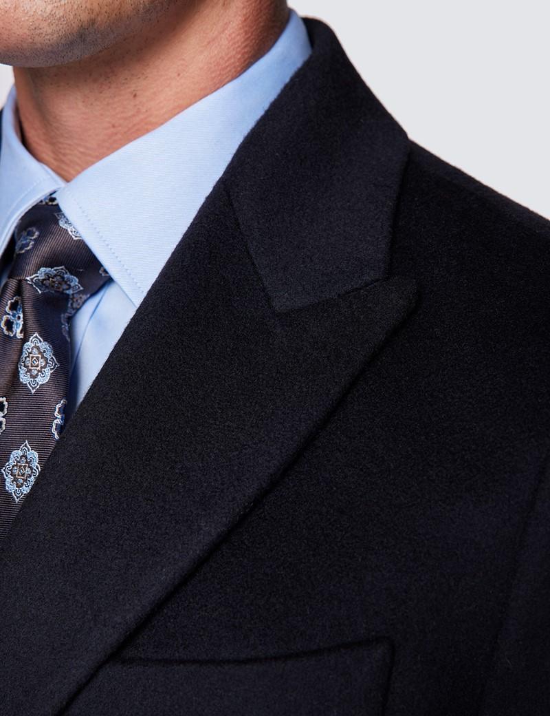 Men's Navy Italian Cashmere Blend Overcoat – 1913 Collection