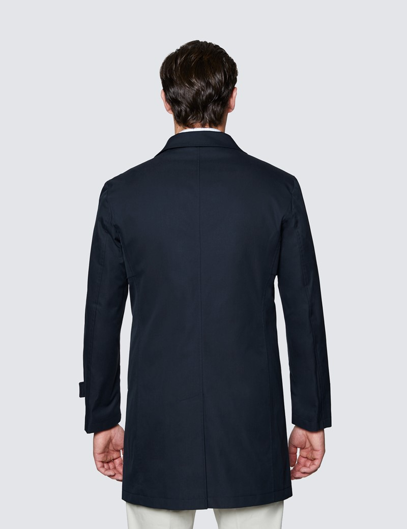 Men's Navy Rain Mac With Removable Lining