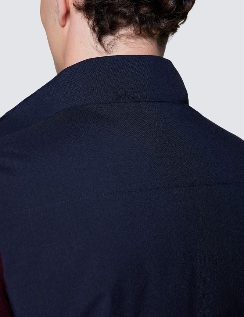Men's Navy Wool Blend Gilet