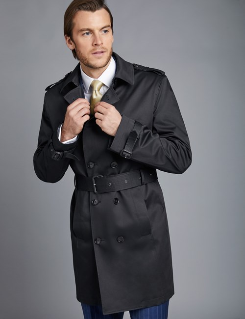 Men's Black Double Breasted Rain Mac – 1913 Collection