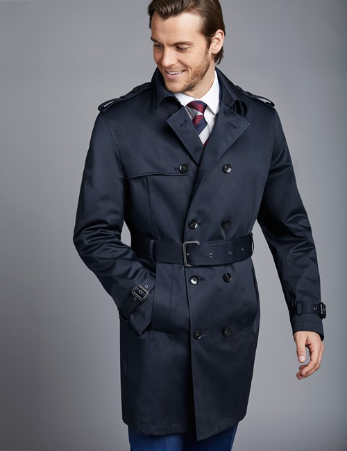 Men's Navy Double Breasted Rain Mac – 1913 Collection