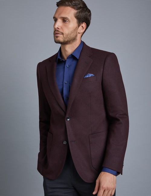 Men's Wine Knitted Blazer