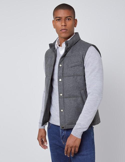 Men's Grey Wool Blend Gilet