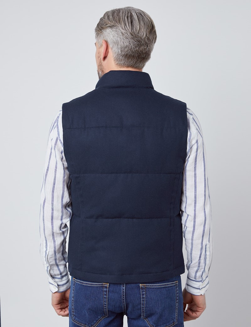 Men's Navy Wool Blend Gilet