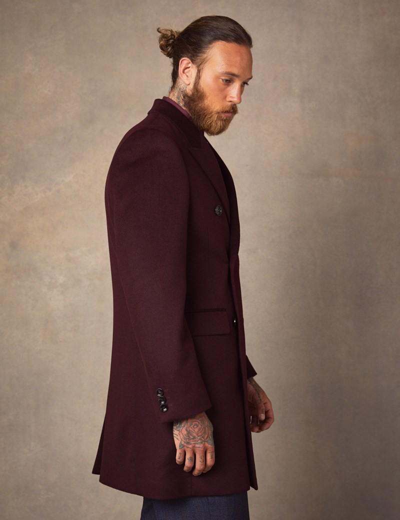 Men's Double Breasted Burgundy Wool Cashmere Overcoat