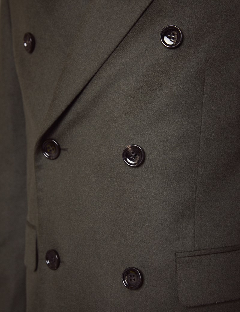 Men's Double Breasted Green Wool Cashmere Overcoat