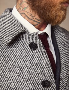 Men's Black & White Twill Car Coat
