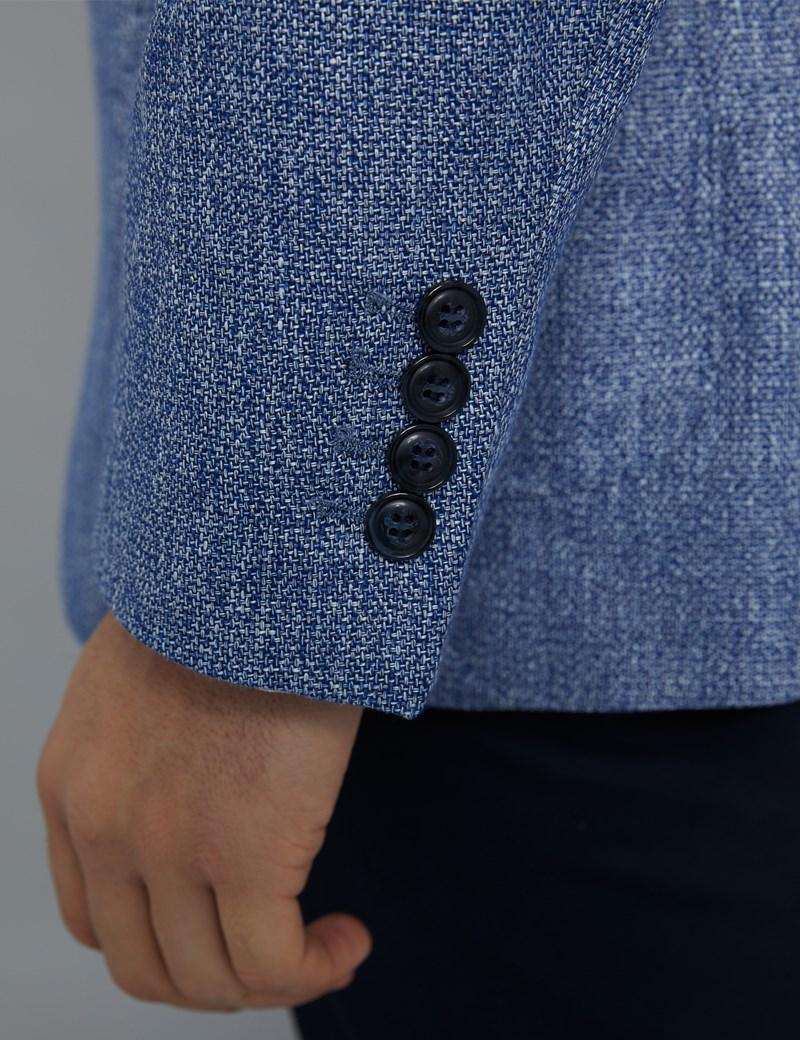 Elegantes Sakko – Slim Fit – Leinenmix – Mittelblau meliert