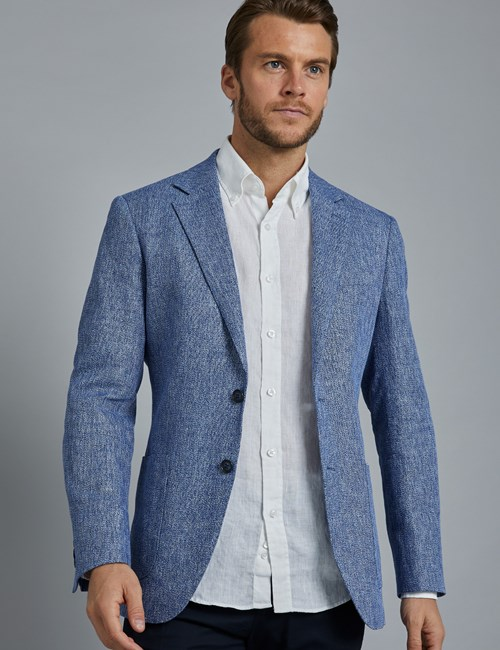 Men's Mid Blue Cotton Linen Blend Slim Fit Jacket