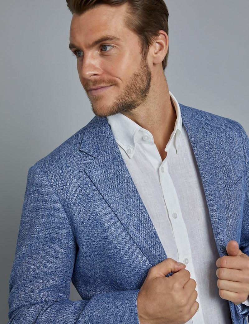 Men's Mid Blue Cotton Linen Blend Slim Fit Jacket