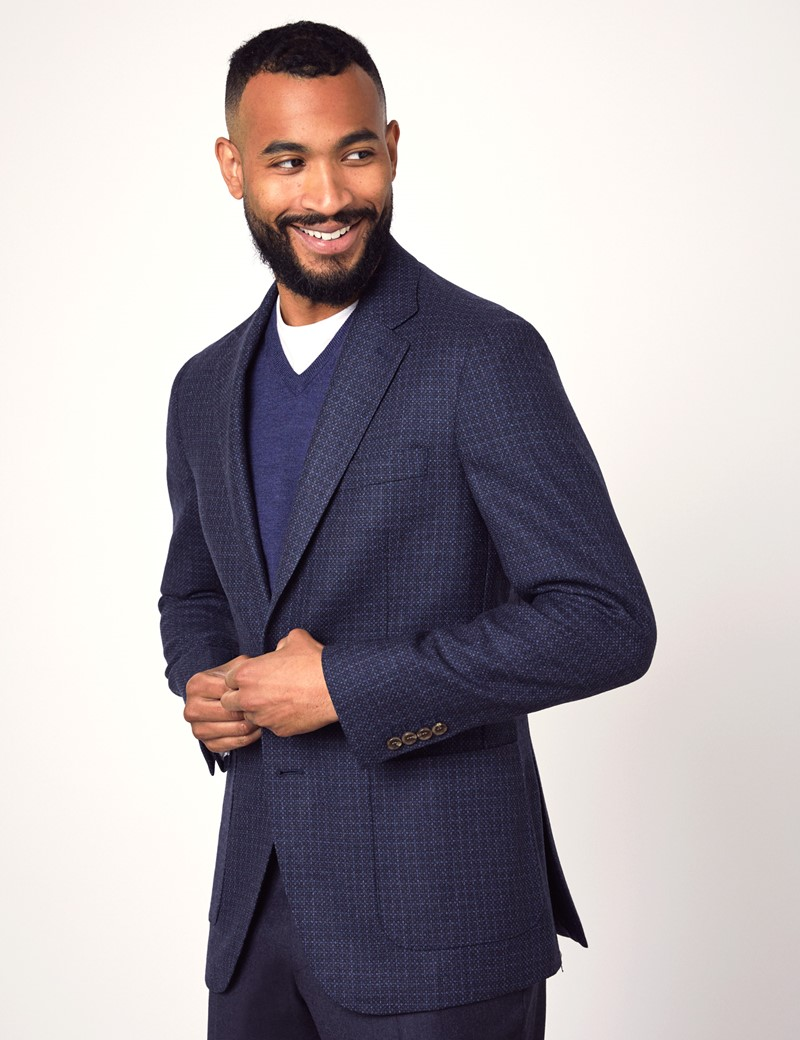 Men's Navy Birdseye Wool Jacket