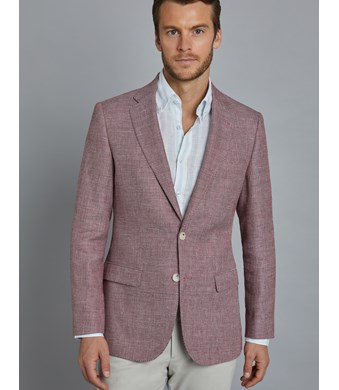 Men's Red Italian Wool & Linen Jacket - 1913 Collection