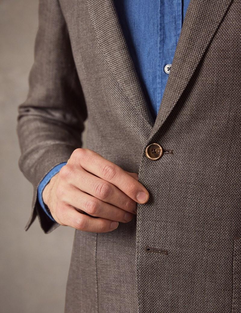 Men's Brown Italian Wool & Linen Jacket - 1913 Collection